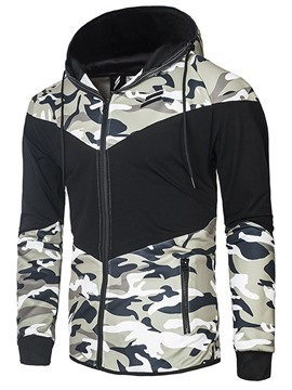 Ericdress Color Block Zip Camouflage Print Men's Hoodie