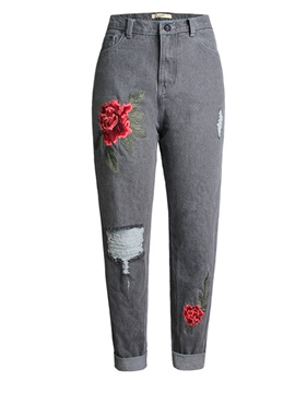 Ericdress Embroidery Hole Jeans