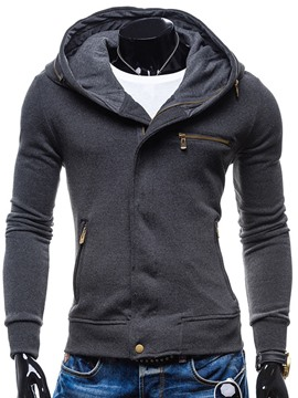 Ericdress Plain Zip Patched Casual Slim Men's Hoodie