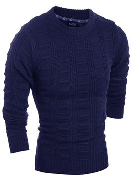 Ericdress Round Collar Solid Color Slim Men's Leisure Sweater