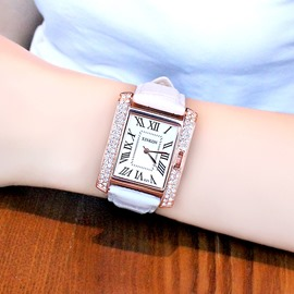 Ericdress Square Diamante Leather Strap Women's Watch
