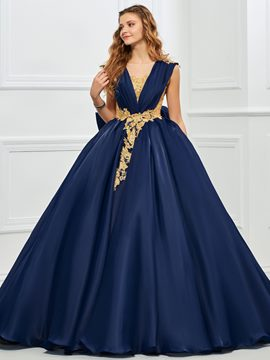 Ericdress Vintage V Neck Applique Lace Ball Gown Quinceanera Dress