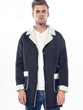 Ericdress Faux Shearling Mid-Length Color Block Lapel Casual Men's Coat