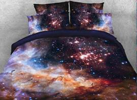 Vivilinen Galaxy and Galactic Nebula Printed Cotton 4-Piece 3D Bedding Sets/Duvet Covers
