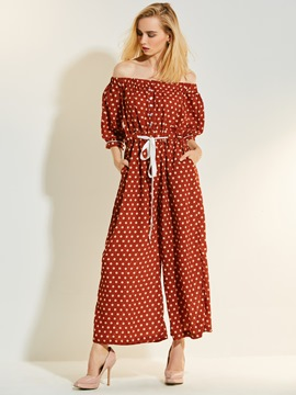 Polka Dots Wide Legs Women's Jumpsuit