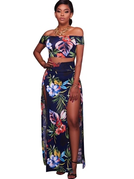 Ericdress Off Shoulder Print Leisure Suits