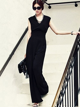 Ericdress Chiffon Wide Legs Pure Color Jumpsuits Pants