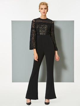 Ericdress Sheath Long Sleeve Lace Evening Jumpsuits