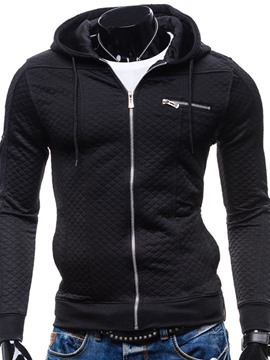 Ericdress Plain Zip Casual Slim Men's Hoodie