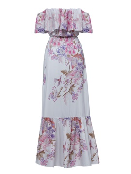 Ericdress Strapless Floral Print Women's Maxi Dress