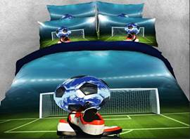Vivilinen Soccer Ball and Shoes Printed Cotton 3D 4-Piece Bedding Sets/Duvet Covers