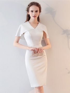 Ericdress Sheath V-Neck Short Sleeves Knee-Length Homecoming Dress