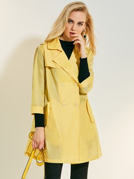 Ericdress Thin Lapel Double-Breasted Trench Coat