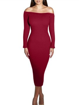 Ericdress Slash Neck Plain Sweater Dress