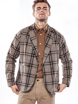 Ericdress Plaid Vogue Casual Woolen Men's Blazer