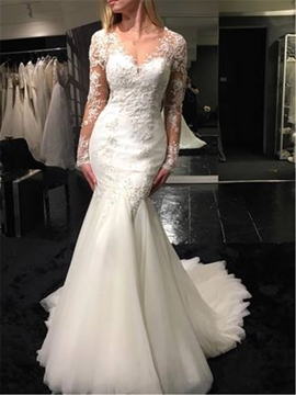 Ericdress Mermaid Long Sleeves Backless V Neck Appliques Wedding Dress