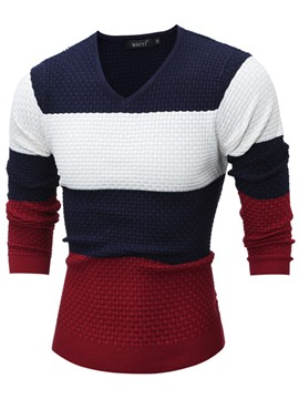 Ericdress Color Block Slim V-Neck Vogue Men's Sweater