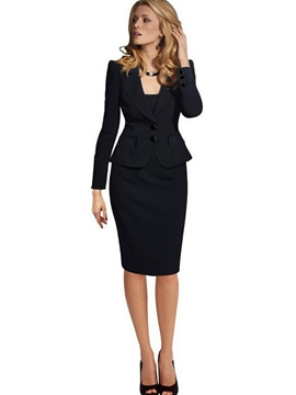 Ericdress Button Jacket and Skirt Women's Suit
