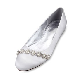 Ericdress Rhinestone Round Toe Slip-On Wedding Shoes with Beads
