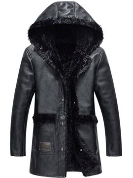 Ericdress Hood Flocking Thicken Warm Quality PU Men's Winter Coat