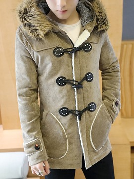 Ericdress Hooded Horn Button Warm Down Cotton Men's Winter Coat