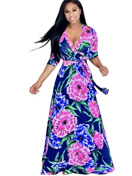 Ericdress Floral V-Neck Half Sleeves Plus Maxi Dress