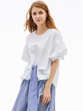 Ericdress Round Neck Stripe Lantern Sleeve Blouse