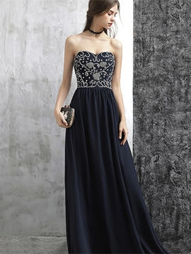 Ericdress A Line Sweetheart Beaded Floor Length Long Evening Dress