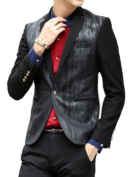 Ericdress One Button Vogue Patched Slim Men's Blazer