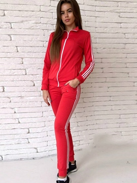 Ericdress Zipper Hoodie and Pants Women's Sport Suit