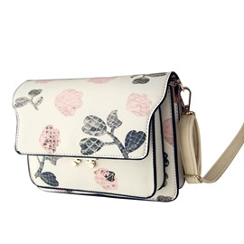 Ericdress Casual Floral Printing PU Crossbody Bag