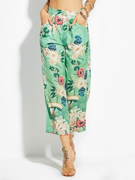 Loose Flower Print Wide Legs Women's Pants