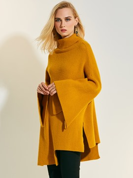 Ericdress Plain High Neck Pullover Flare Sleeve Knitwear