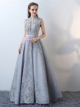Ericdress A-Line High Neck Lace Flowers Floor-Length Evening Dress