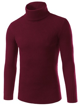Ericdress Turtleneck Solid Color Plain Slim Men's Casual Sweater