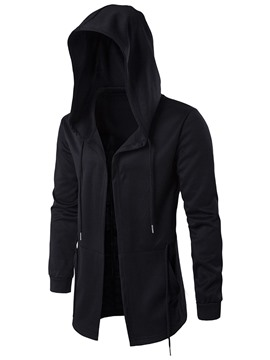 Ericdress Plain Hooded Mid-Length Mens Loose Trench Coats
