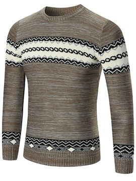 Ericdress Crew Neck Jacquard Vogue Slim Men's Sweater