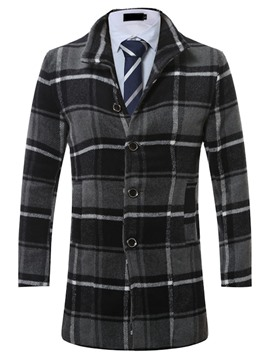 Ericdress Mid-Length Lapel Plaid Slim Men's Woolen Coat