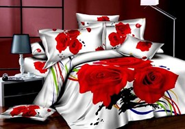 3D Red Rose and Colorful Stripes Printed Cotton 4-Piece White Bedding Sets
