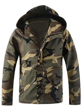 Ericdress Pocket Hooded Camouflage Print Casual Men's Jacket