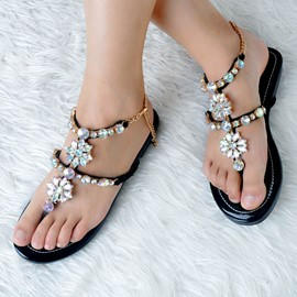 Ericdress Rhinestone Thong Strappy Flat Sandals