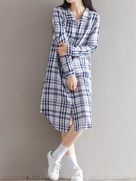 Ericdress Plaid Staight T-shirt Casual Dress