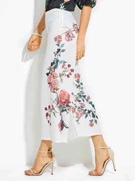High-Waist Cropped Flower Print Women's Pants
