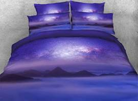 Vivilinen Mountain under Galaxy Printed Cotton 3D 4-Piece Purple Bedding Sets/Duvet Covers