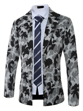 Ericdress Notched Collar Camouflage Woolen Warm Men's Coat