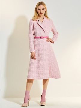 Ericdress Stand Collar Houndstooth Long A Line Coat