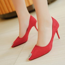 Ericdress Fashionable Rhinestone Plain Stiletto Heel Pumps