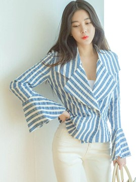 Ericdress Stripe Double-Breasted Flare Sleeve Blazer