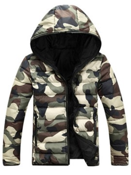 Ericdress Hood Camouflage Winter Thicken Warm Men's Coat