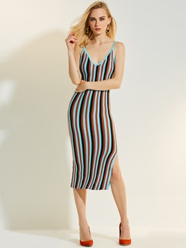 Ericdress Deep V-Neck Color Block Stripe Bodycon Dress
